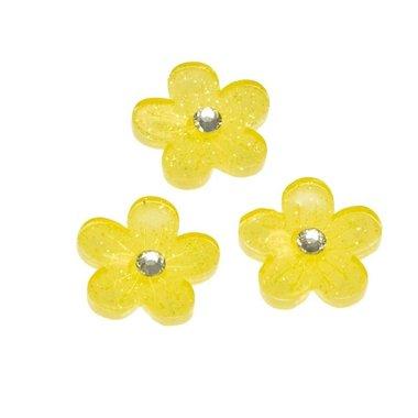 Flatback gele glitter bloem met 'kristalletje/strass' 15 mm (100 stuks)