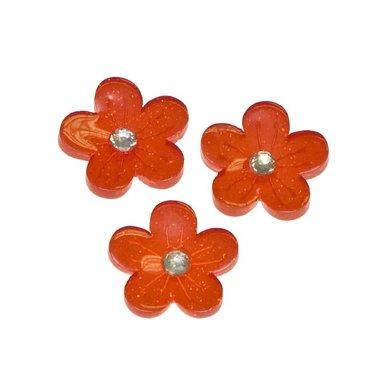 Flatback rode glitter bloem met 'kristalletje/strass' 15 mm (100 stuks)