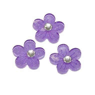 Flatback paarse glitter bloem met 'kristalletje/strass' 15 mm (100 stuks)