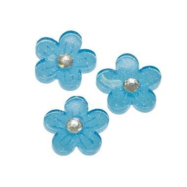 Flatback blauwe glitter bloem met 'kristalletje/strass' 15 mm (100 stuks)