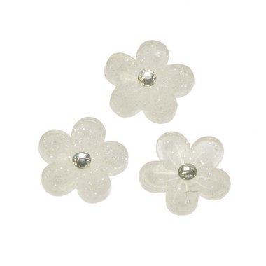 Flatback witte glitter bloem met 'kristalletje/strass' 15 mm (100 stuks)