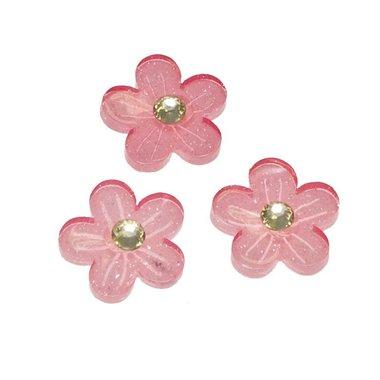Flatback roze glitter bloem met 'kristalletje/strass' 15 mm (100 stuks)