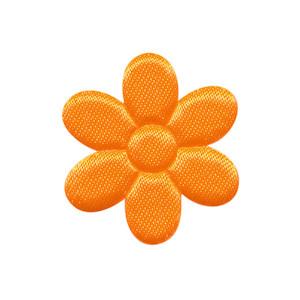 Applicatie bloem NEON oranje satijn effen middel 30 mm (ca. 100 stuks)