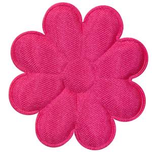 Applicatie bloem fuchsia satijn effen groot 50 mm (ca. 100 stuks)