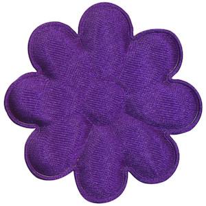 Applicatie bloem paars satijn effen groot 50 mm (ca. 100 stuks)