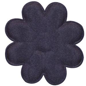 Applicatie bloem donker blauw satijn effen groot 50 mm (ca. 100 stuks)