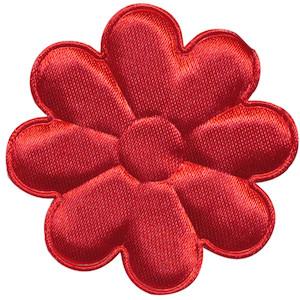 Applicatie bloem rood satijn effen groot 50 mm (ca. 100 stuks)
