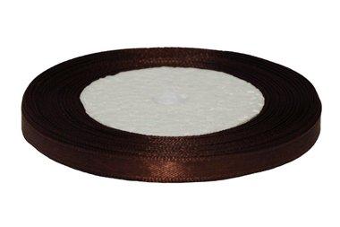 Bruin enkelzijdig satijnband 7 mm (ca. 22 m)