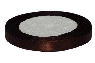 Bruin enkelzijdig satijnband 10 mm (ca. 22 m)