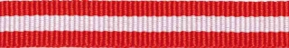 Rood-wit-rood streep grosgrain/ribsband 10 mm (ca. 25 m)
