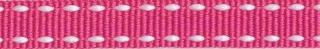 Fuchsia-wit stippel grosgrain/ribsband 10 mm (ca. 25 m)
