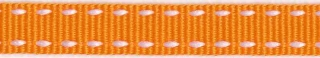 Oranje-wit stippel grosgrain/ribsband 10 mm (ca. 25 m)