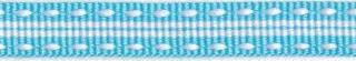 Licht blauw-wit stippel/streep grosgrain/ribsband (ca. 25 m)