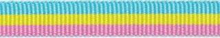 Licht blauw-geel-licht roze streep grosgrain/ribsband 10 mm (ca. 25 m)