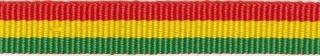Rood-geel-groen streep grosgrain/ribsband 10 mm (ca. 25 m)