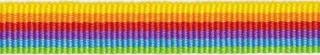 Geel-oranje-rood-paars-licht blauw-gifgroen streep grosgrain/ribsband 10 mm (ca. 25 m)