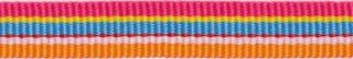 Roze-geel-licht blauw-rood-wit-oranje streep grosgrain/ribsband 10 mm (ca. 25 m)