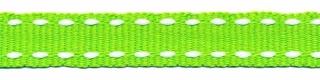 Gifgroen-wit stippel grosgrain/ribsband 10 mm (ca. 25 m)