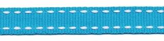 Petrol-wit stippel grosgrain/ribsband 10 mm (ca. 25 m)