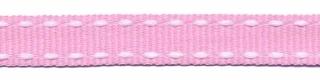 Licht roze-wit stippel grosgrain/ribsband 10 mm (ca. 25 m)