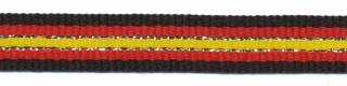 Zwart-rood-zilver-geel streep grosgrain/ribsband 10 mm (ca. 45 m)