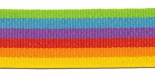Geel-oranje-rood-paars-licht blauw-gifgroen streep grosgrain/ribsband 25 mm (ca. 45 m)