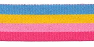 Blauw-geel-roze-fuchsia streep grosgrain/ribsband 25 mm (ca. 45 m)