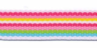 Wit-fuchsia-roze-geel-groen-blauw streep tassenband ca. 25 mm (ca. 45 m)