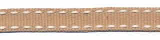 Zand-wit stippel grosgrain/ribsband 10 mm (ca. 25 m)