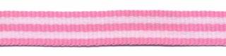 Roze-wit streep grosgrain/ribsband 10 mm (ca. 25 m)