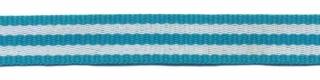 Petrol-wit streep grosgrain/ribsband 10 mm (ca. 25 m)