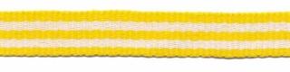 Geel-wit streep grosgrain/ribsband 10 mm (ca. 25 m)