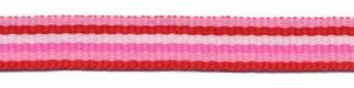 Roze-rood-wit-fuchsia streep grosgrain/ribsband 10 mm (ca. 25 m)