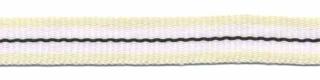 Creme-wit-zwart streep grosgrain/ribsband 10 mm (ca. 25 m)