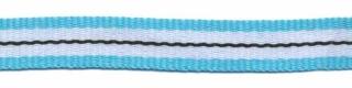 Aqua blauw-wit-zwart streep grosgrain/ribsband 10 mm (ca. 25 m)