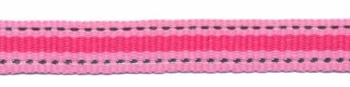 Roze-zilver-fuchsia streep grosgrain/ribsband 10 mm (ca. 45 m)