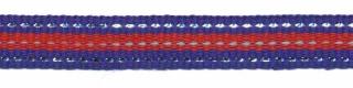 Kobalt blauw-zilver-rood streep grosgrain/ribsband 10 mm (ca. 45 m)
