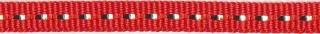 Rood band met zilverdraad 7 mm (ca. 25 m)
