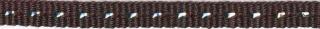 Bruin band met zilverdraad 7 mm (ca. 25 m)