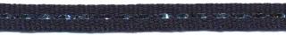 Donker blauw band met zilverdraad 7 mm (ca. 25 m)