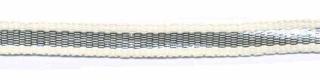 Creme-zilver grosgrain/ribsband 7 mm (ca. 25 m)