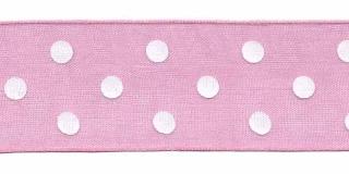 Roze met witte stippen organza lint 25 mm (ca. 45 m)