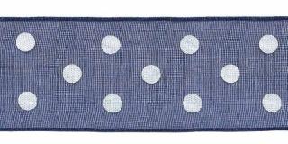 Donker blauw met witte stippen organza lint 25 mm (ca. 45 m)