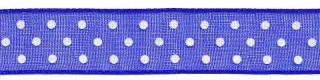 Kobalt blauw met witte stippen organza lint 13 mm (ca. 45 m)