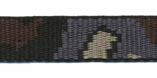 Tassenband 20 mm camouflageprint zwart/grijs/bruin/zand dubbelzijdig (ca. 5 m)