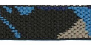 Tassenband 25 mm camouflageprint zwart/blauw/zand dubbelzijdig (ca. 5 m)