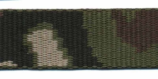 Tassenband 25 mm camouflageprint zwart/bruin/groen dubbelzijdig (ca. 5 m)
