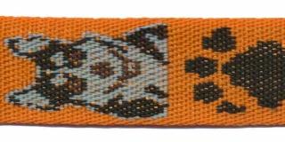 Tassenband 25 mm herder oranje/zand/zwart (ca. 5 m)