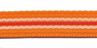 Tassenband 20 mm streep oranje/wit/donker oranje (ca. 5 m)