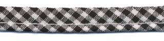Zwart-wit geruit piping-/paspelband STANDAARD - 2 mm koord (ca. 10 meter)